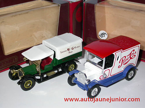 Matchbox Ford T Pepsi 1912 et Crossley 1918